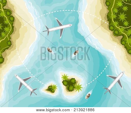 The islands and planes, top view. Time to travel. Sun, sea, island, sand yacht airplanes palms Vector illustration