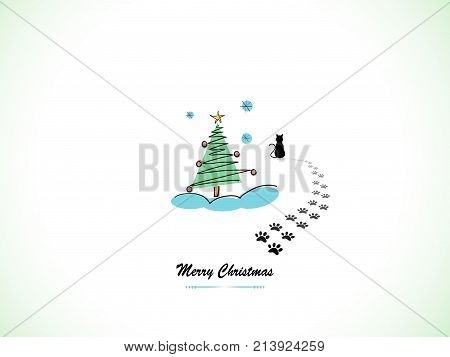 Silhouette of black cat and Christmas tree