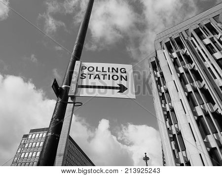 Polling Station In London Black And White