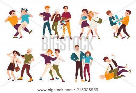 Collection of fighting children. Conflicts between kids, violent behavior among teenagers, violence at school. Flat cartoon characters isolated on white background. Colorful vector illustration
