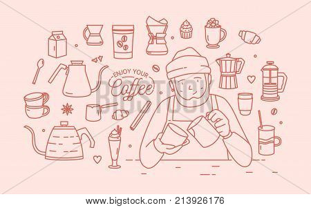Cute smiling male cartoon character wearing hat and apron surrounded by desserts, spices and tools for coffee brewing drawn with contour lines in pink color. Vector illustration in lineart style
