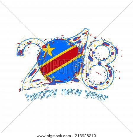 2018 Happy New Year Dr Congo Grunge Vector Template For Greeting Card And Other.