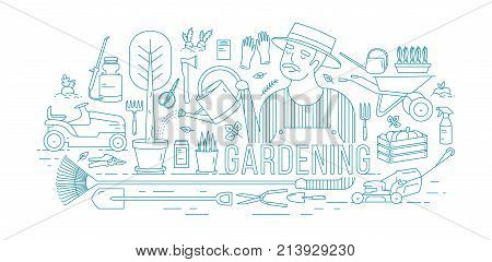 Gardener watering tree growing in pot surrounded by gardening and agricultural equipment, tools, garden plants drawn with blue contour lines on white background. Vector illustration in lineart style
