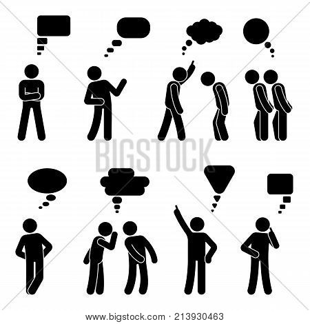 Stick figure dialog speech bubbles set. Talking thinking whispering body language man conversation icon pictogram