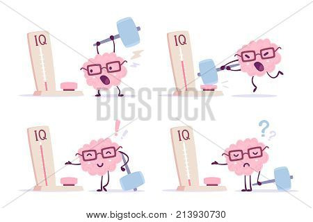 Very Strong Cartoon Brain Concept. Vector Set Of Illustration Of Pink Color Human Brain With Glasses