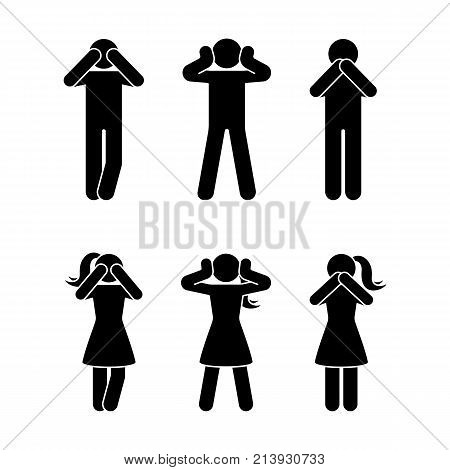 Stick figure set of three wise monkeys pictogram. See no evil hear no evil speak no evil concept icon