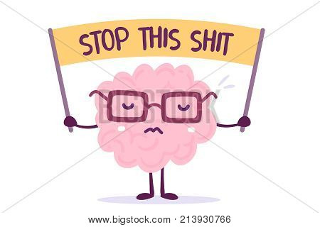 Vector Illustration Of Pink Color Human Brain With Glasses Holds The Banner On White Background. Str