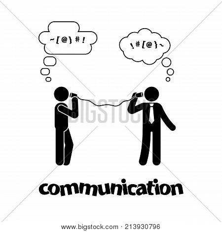 Stick figure talking with tin can telephone. Communication icon symbol pictogram