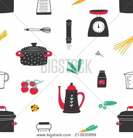 Seamless pattern with hand drawn kitchen utensils on white background. Backdrop with tools for home cooking or food preparation, cookware, ingredients, spices for homemade meals. Vector illustration
