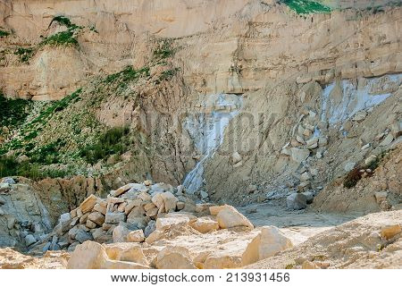 Forsaken quarry for the extraction of clay and sand