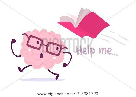 Vector Illustration Of Pink Color Brain With Glasses Running Away From A Red Book Flying Behind On W