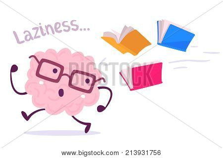 Vector Illustration Of A Brain Avoiding Knowledge Cartoon Concept. Pink Color Lazy Brain With Glasse