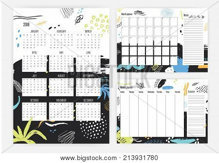 Set of year 2018 calendar, month and weekly planner templates with colorful dots, stains, blots on background. Schedule or timetable. Effective planning. Week start sunday. Vector template