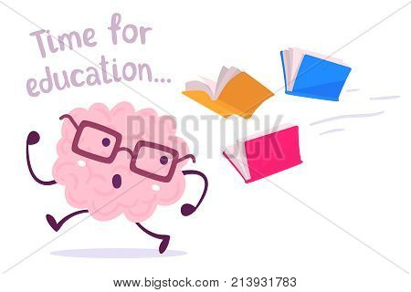 Pink Color Lazy Brain With Glasses Running Away From Color Books Flying Behind On White Background.