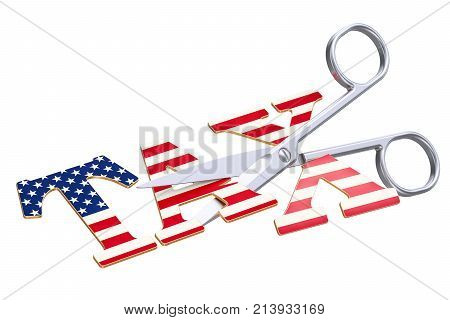 Tax cut in USA concept. 3D rendering isolated on white background
