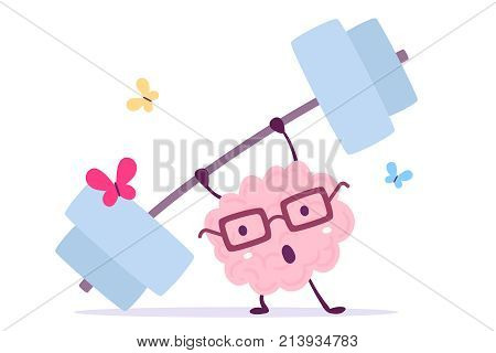 Vector Illustration Of Pink Color Smile Brain With Glasses Very Hard Lifts Weights With Butterfly On