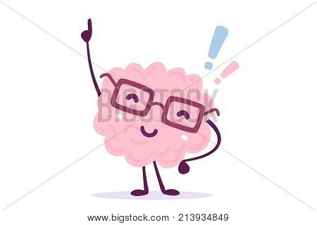 Vector Illustration Of Pink Color Human Brain With Glasses Invented Something On White Background. F
