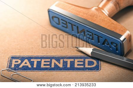 3D illustration of rubber stamp with the text patented. IP law and intellectual property patent concept