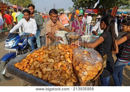 Pushkar, India, October 29, 2017 : Small Restaurant During The Festival. Pushkar Camel Fair Is One O