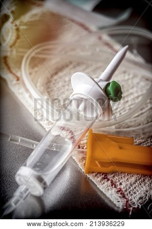 Drip irrigation equipment on a bandage, conceptual image