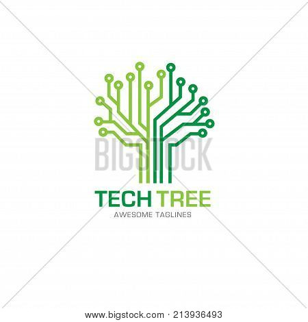 tech tree logo concept- vector logo concept illustration. green network logo sign. Computer technology logo. Vector logo template.
