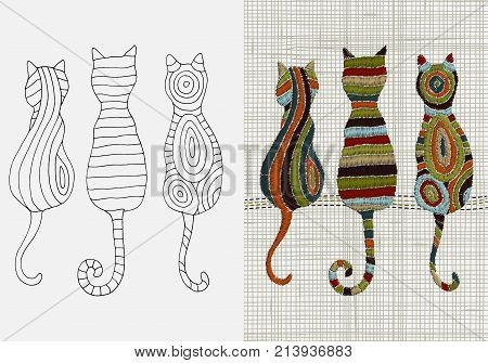 Set Of Embroidery Designs. Cats. Zentangle Style. Vector Embroidery Home Decor. Linen Cloth Texture.