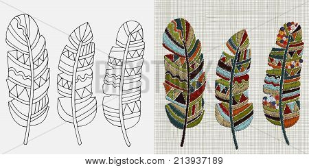 Embroidery Designs. Feathers. Colorful Hoop Art. Boho, Crafts, Hand Embroidery Patterns. Linen Cloth