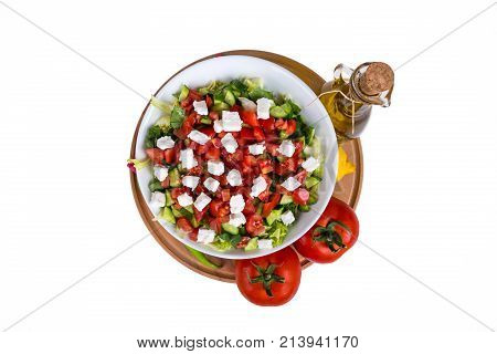 Bowl Of Healthy Green Salad With Vegetables Top View