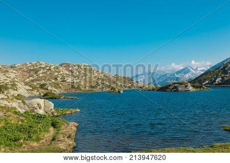 Alpine pass of San Bernardino in Switzerland