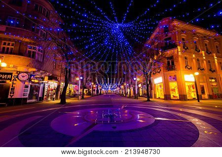 Burgas city, Bulgaria - December 08, 2012. Christmas decoration at night