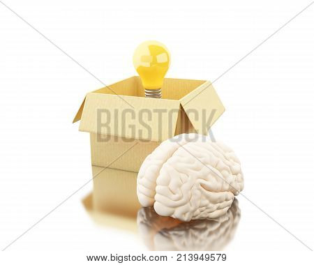 3D Brain With Ligthbulb And Cardboard Box