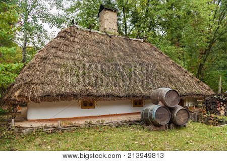 Traditional fisherman's house, old fisherman's house in the Mamaevo Sloboda