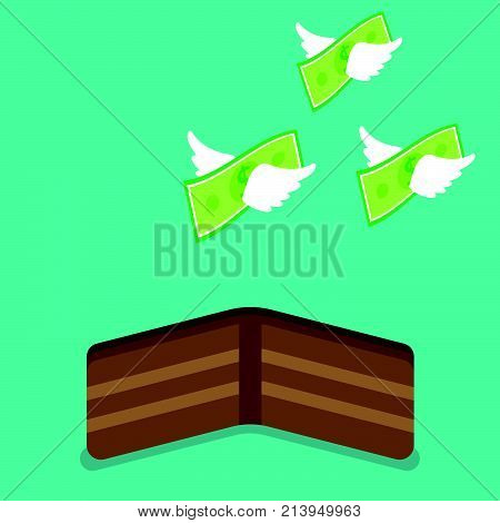 Vector Illustration Business Concept Designed As Money With White Wings Are Flying Away From A Brown Wallet. It Means Income Revenue Runs Out From The Budget Or Spending Too Much Until Broke.