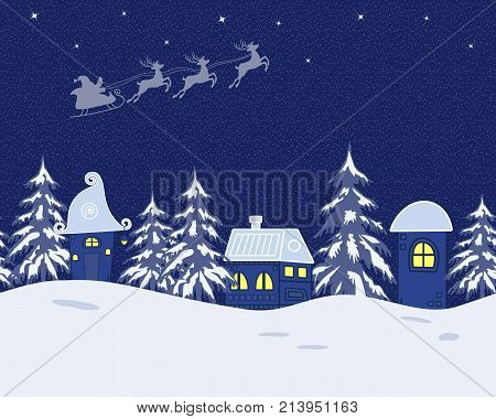 Fairy tale winter landscape. Santa Claus is riding across the sky on deers. There are fantastic lodges and fir trees on a blue background in the picture. It can be used as a seamless border. Vector