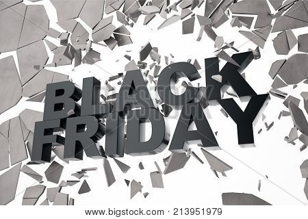 3D Rendering Black Friday, sale message for shop. Business hopping store banner for Black Friday. Black Friday crushing ground. 3D text breaking through wall.