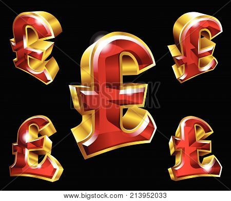 Vector golden pound sterling symbols in 3D style with different angles