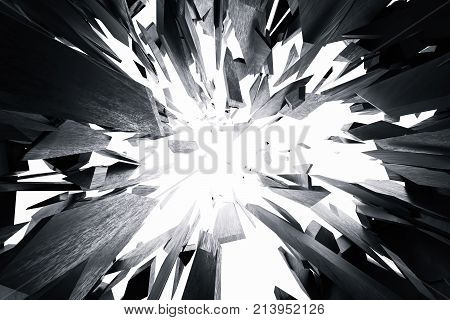 3d rendering cracked earth abstract background with volume light rays. Cracked concrete earth abstract background