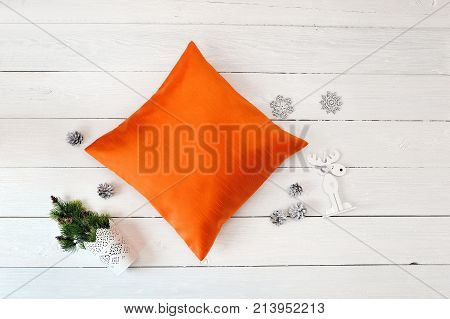 Orange Pillow case Mockup. Flat lay, top view photo mockup. Holidays decorations.