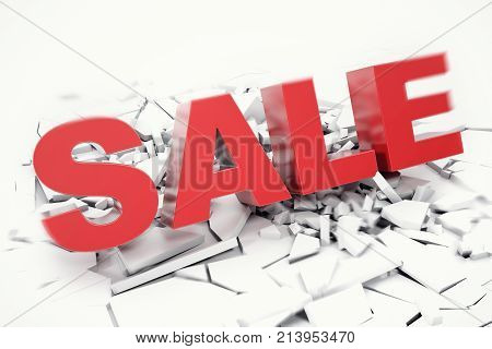 3D Rednering Sale fallen word. 3D red sale word isolated over white background with crack earth