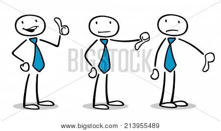 Business people decide costumer quality rating assessment analysis with thumbs up or down