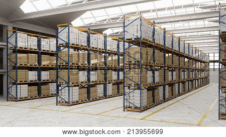 Warehouse as stock hall with many boxes (3D Rendering)