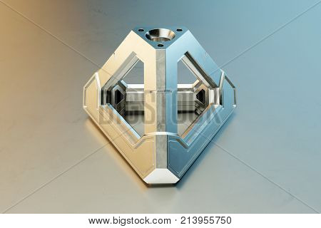 Modern Metal CNC spare part in metalworking factory (3D Rendering)