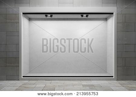Empty showcase in boutique shopping window outside retail mall (3D Rendering)