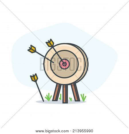 Archers target and arrows. Goal achievement and accuracy concept. Arrow target illustration. Abstract light background with shadow and grass. Linear modern trendy vector banner.