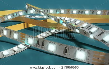 Diode Strip Led Lights Tape Close-up 3D Render On Blue