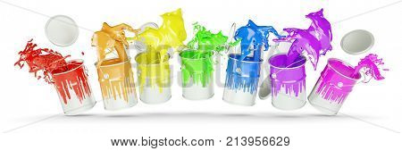 Colorful paint buckets as rainbow color palette (3D Rendering)