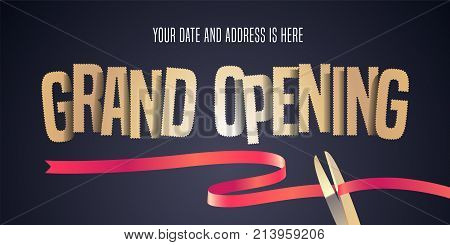 Grand opening vector illustration background with cut out golden sign and scissors cutting red ribbon. Template banner flyer for opening ceremony