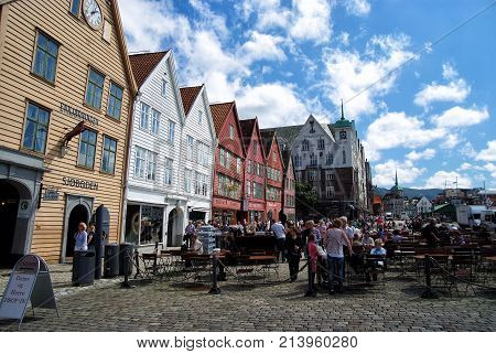 Street Cafe With People In Bergen, Norway