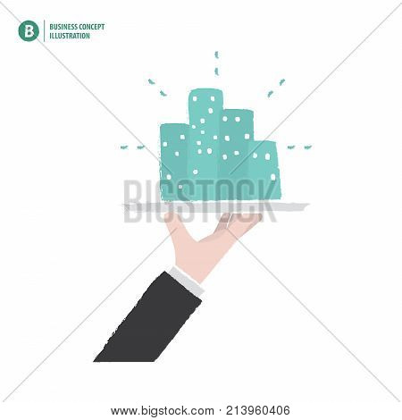 Hand Holding The Building On A Platter Meaning Business Or Invesment Or Growth On White Background I