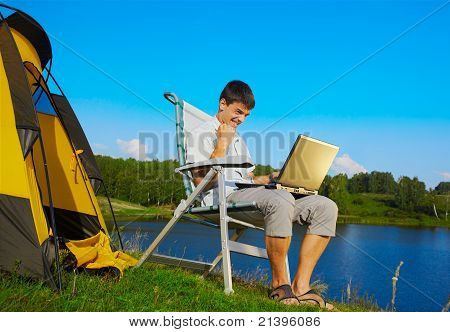 Man With Laptop Outdoor